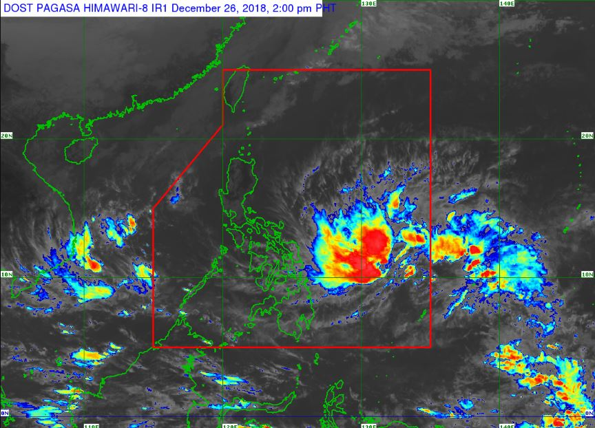 Satellite image of Tropical Depression Usman as of 2:00 pm, December 26