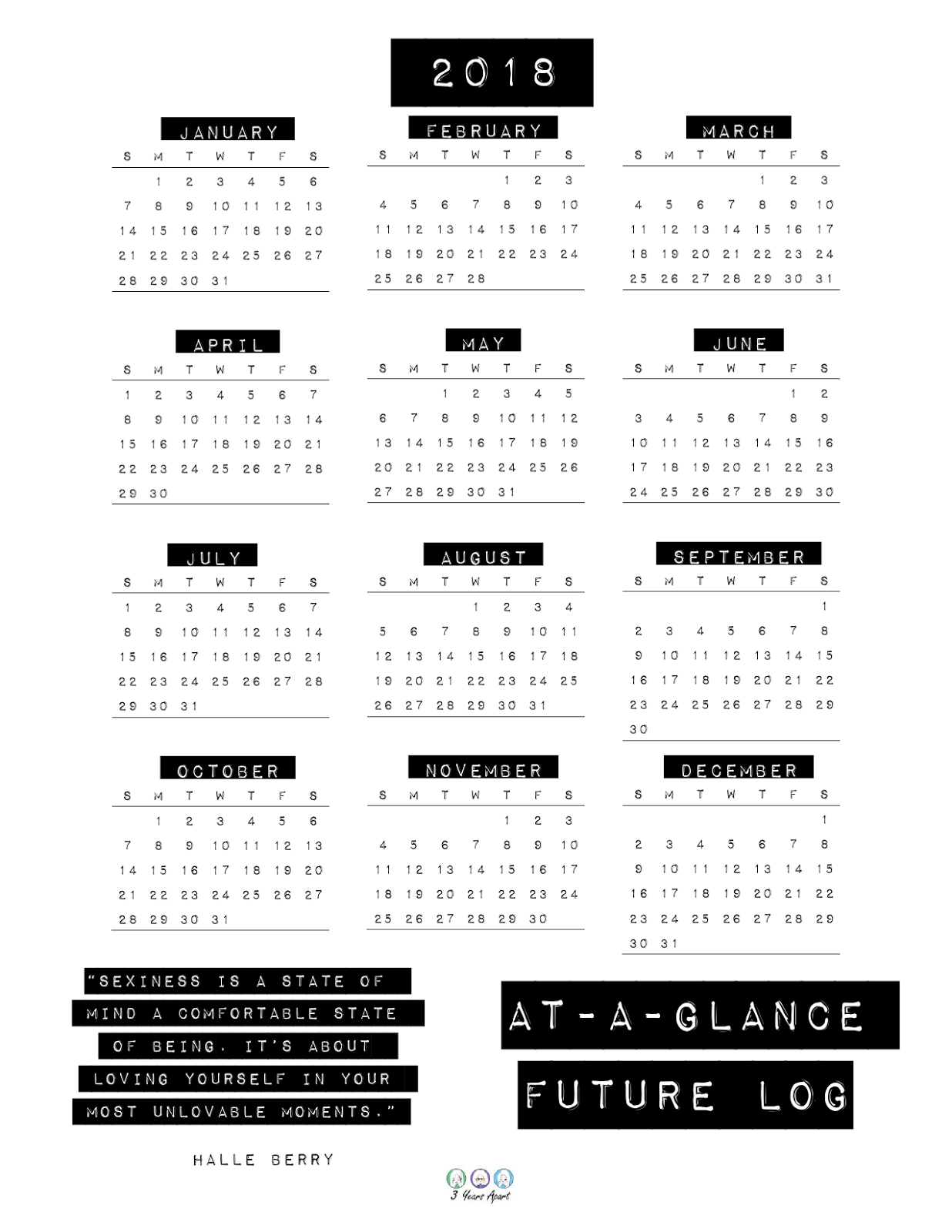 photo relating to Bullet Journal Stickers Printable named 2018 Annually at-a-Look and Foreseeable future Log Printable Cost-free