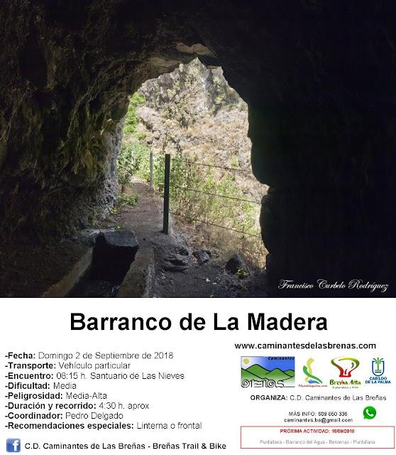 Caminantes de Las Breñas, ruta: Domingo 2 de Septiembre: Barranco de La Madera