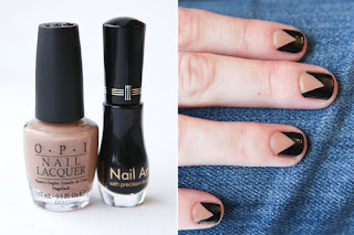 Three nails Style with two different colours. make nail at home