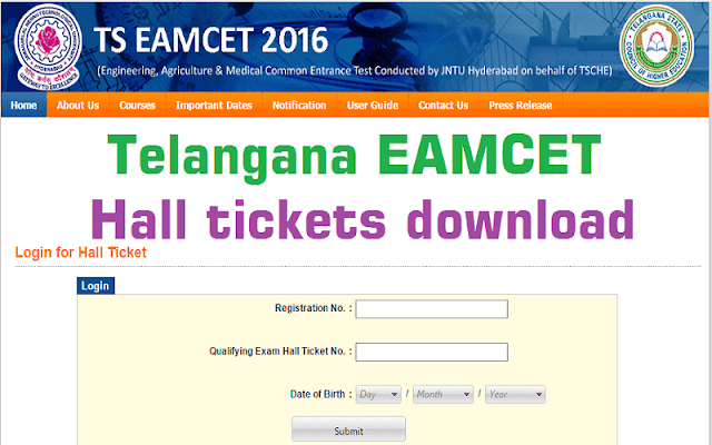 TS EAMCET,Hall Tickets,Tlangana EAMCET