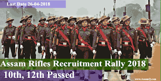 Assam Rifles Recruitment Rally CGA Trade/Clerk/Cook/PA 2018-19 [213 Nos.]