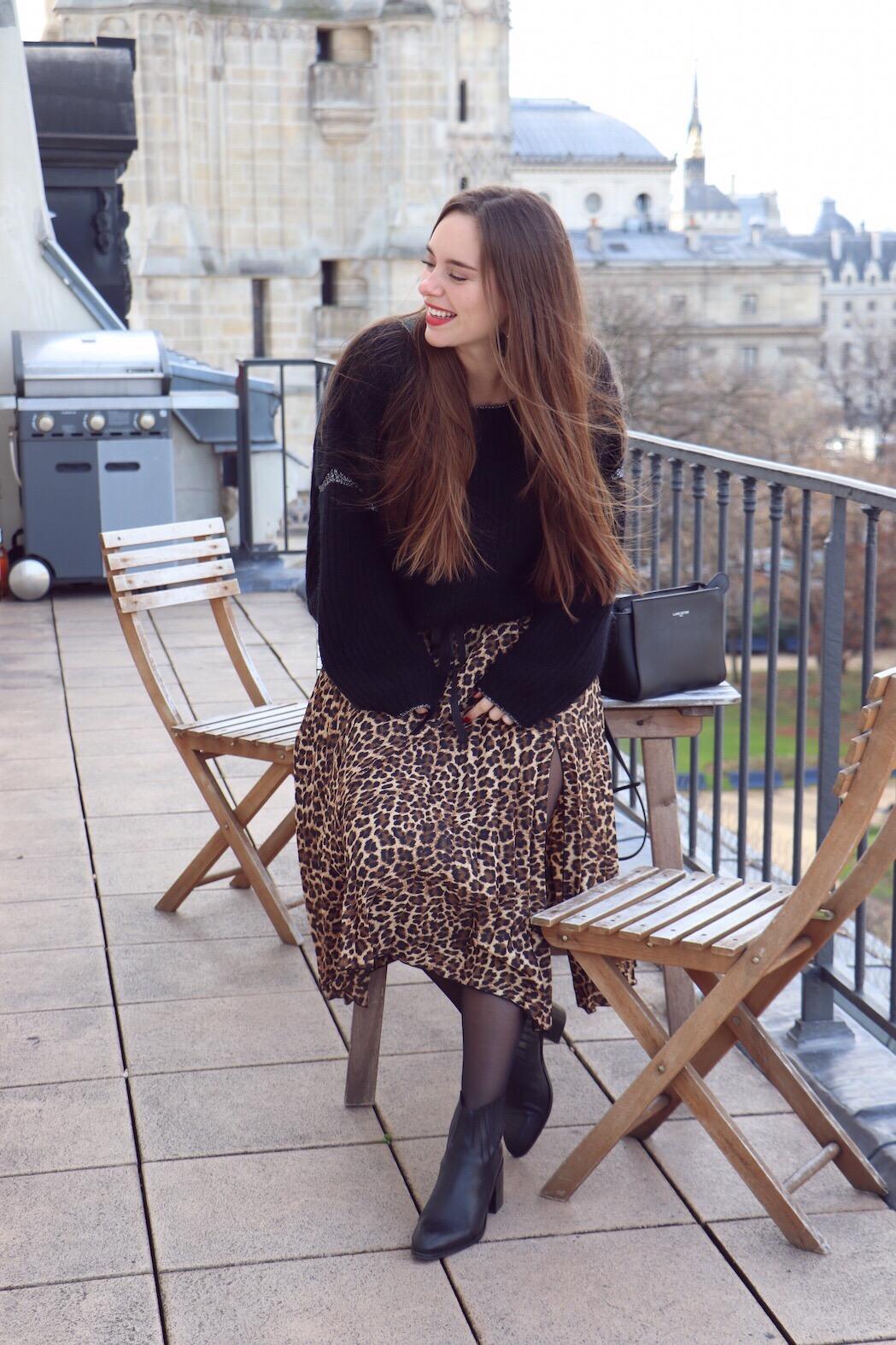 jupe midi leopard