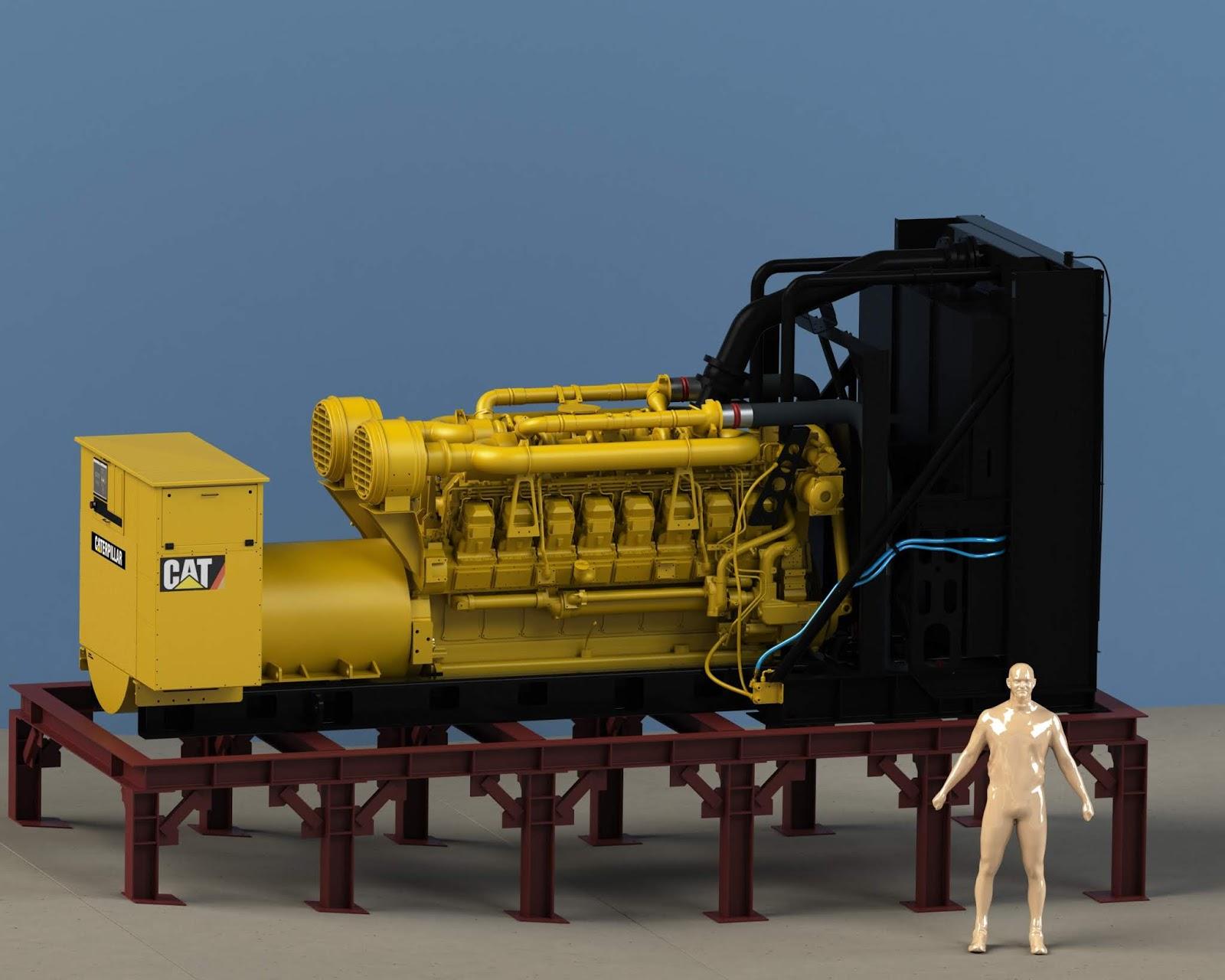 Giant Generator Diesel Engine Download Free 3d Models 100228