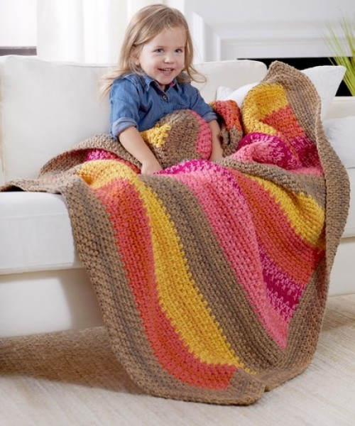 Bright Stripes Reversible Throw - Free Pattern