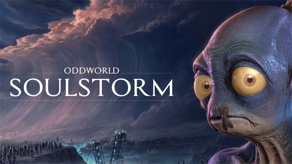 image of Abe, the main character from Oddworld, standing in front of a tsunami, accompanied by text reading: ODDWORLD SOULSTORM
