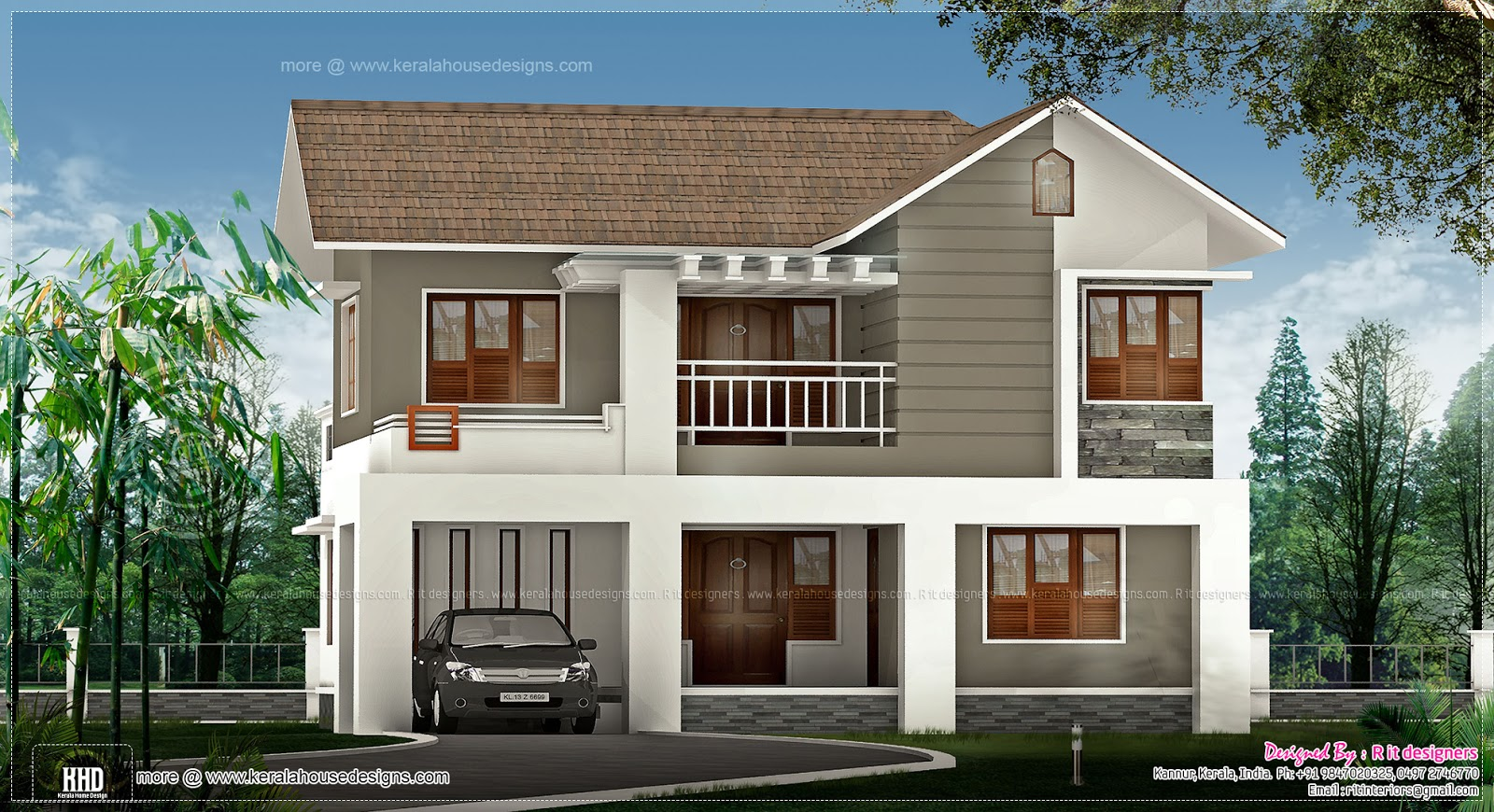 1829 sq ft home design in kannur kerala kerala home for Low cost house plans with estimate