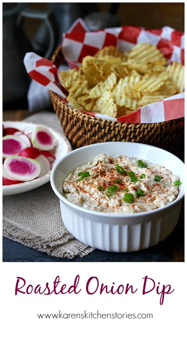 Slow-Roasted Onion Dip with white and red Radishes and Potato Chips #oniondip #radishes #potatochips
