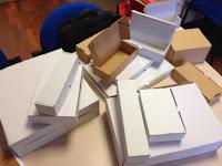 cajas de cartón, cajas automontables.