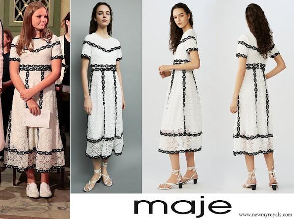 Princess Ingrid Alexandra wore Maje Black And White Lace Long Dress