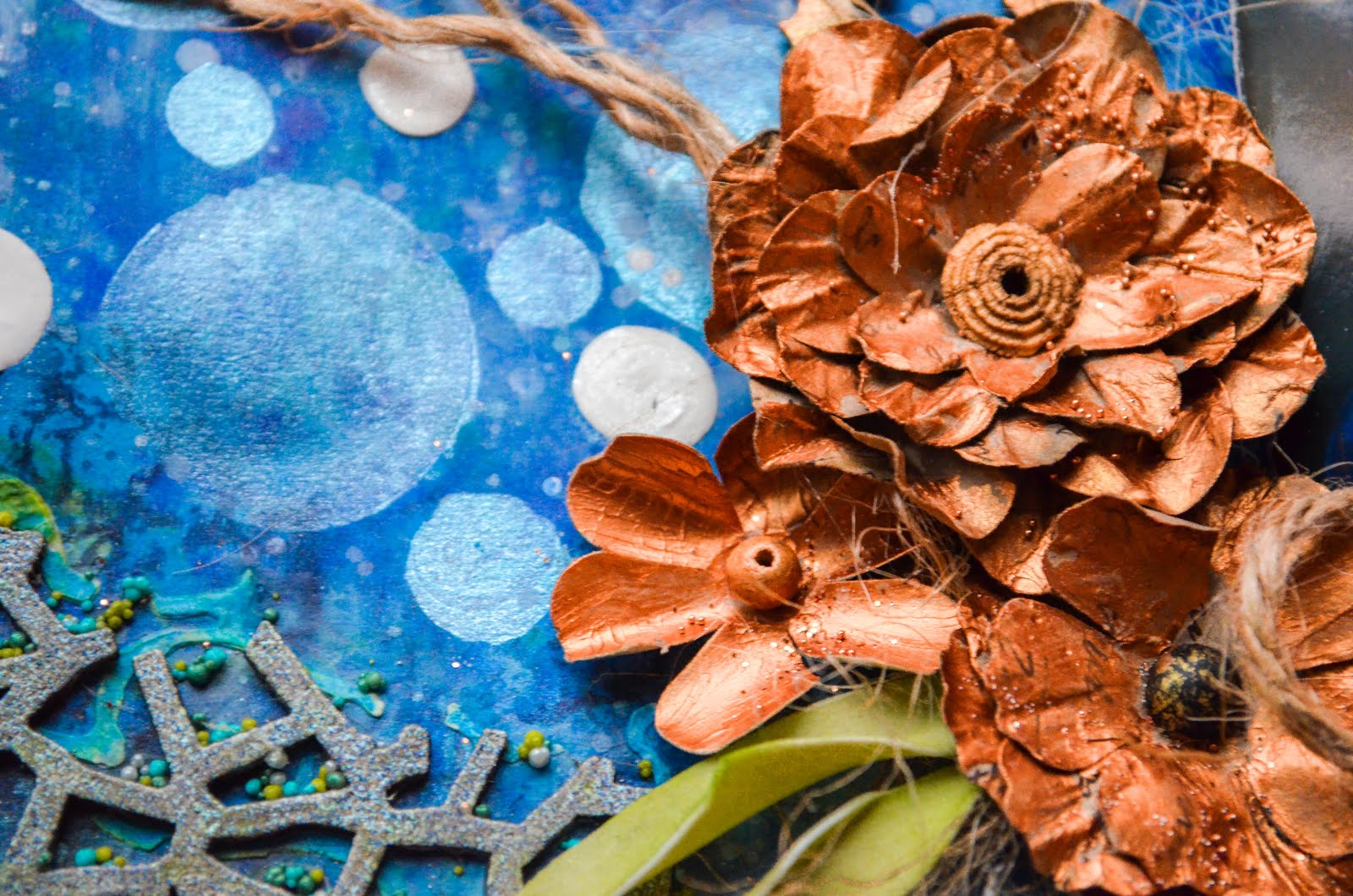 Nautical steampunk mixed media layout in blue and copper with bubbles, chipboard, cheesecloth, and iridescent medium with beads and prills
