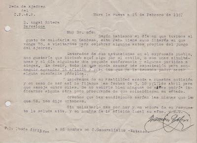 Carta de la Peña de Ajedrez del C.F.A.F. de Mora la Nueva en 1947