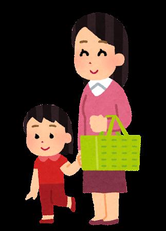スーパーで買い物中の母親と子供のイラスト