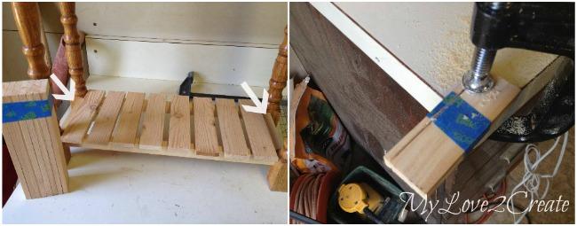 using lath and paint sticks to make a slat shelf