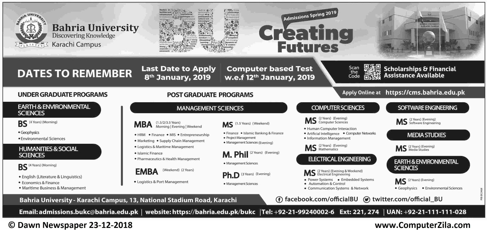 Admissions Open For Spring 2019 At BAHRIA Karachi Campus