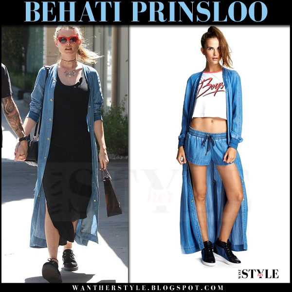 6115ef14e869 Behati Prinsloo in blue denim tencel duster coat behati x juicy what she  wore model style