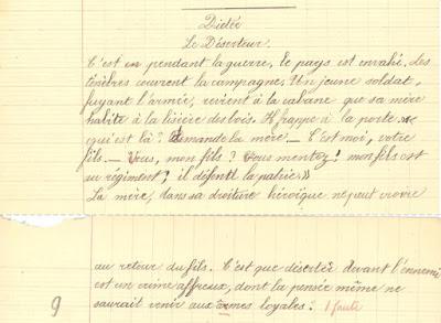 Dictée, cahier de devoirs journaliers, 1906 (collection musée)