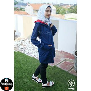 Hijacket Japan Street Style Jaket Cewe Berhijab Warna Navy Premium [HJ-JS3]