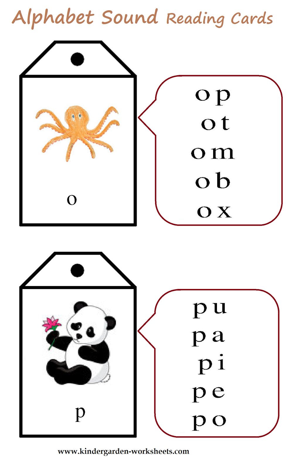Kindergarten Worksheets Alphabet Sound Read Cards
