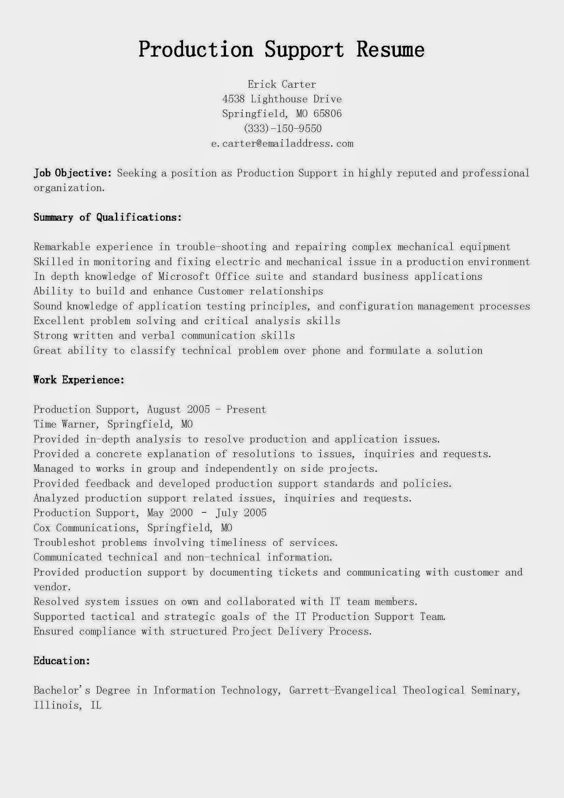 Resume samples production support resume sample for Sample resume for 2 years experience in mainframe