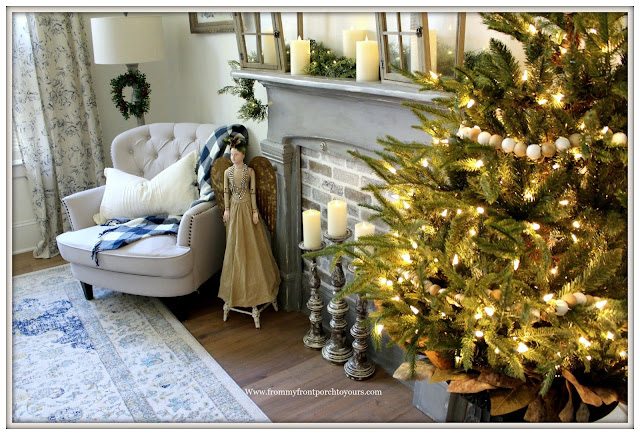French Country-French Farmhouse-Christmas-Bedroom-Simple-Christmas-Tree-Faux-Fireplace-From My From Porch To Yours