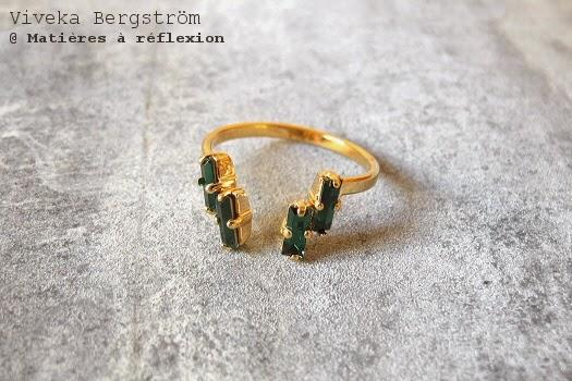 Bague plaquée or cristaux verts Viveka Bergstrom bijoux
