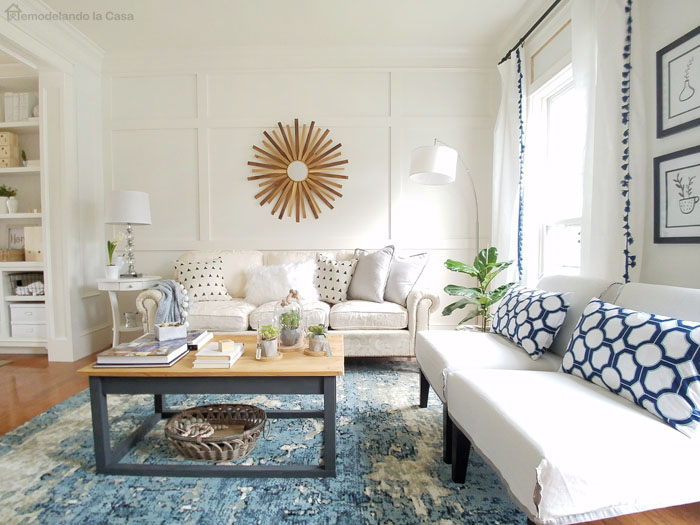 living room with white and blue accents - farmhouse decor