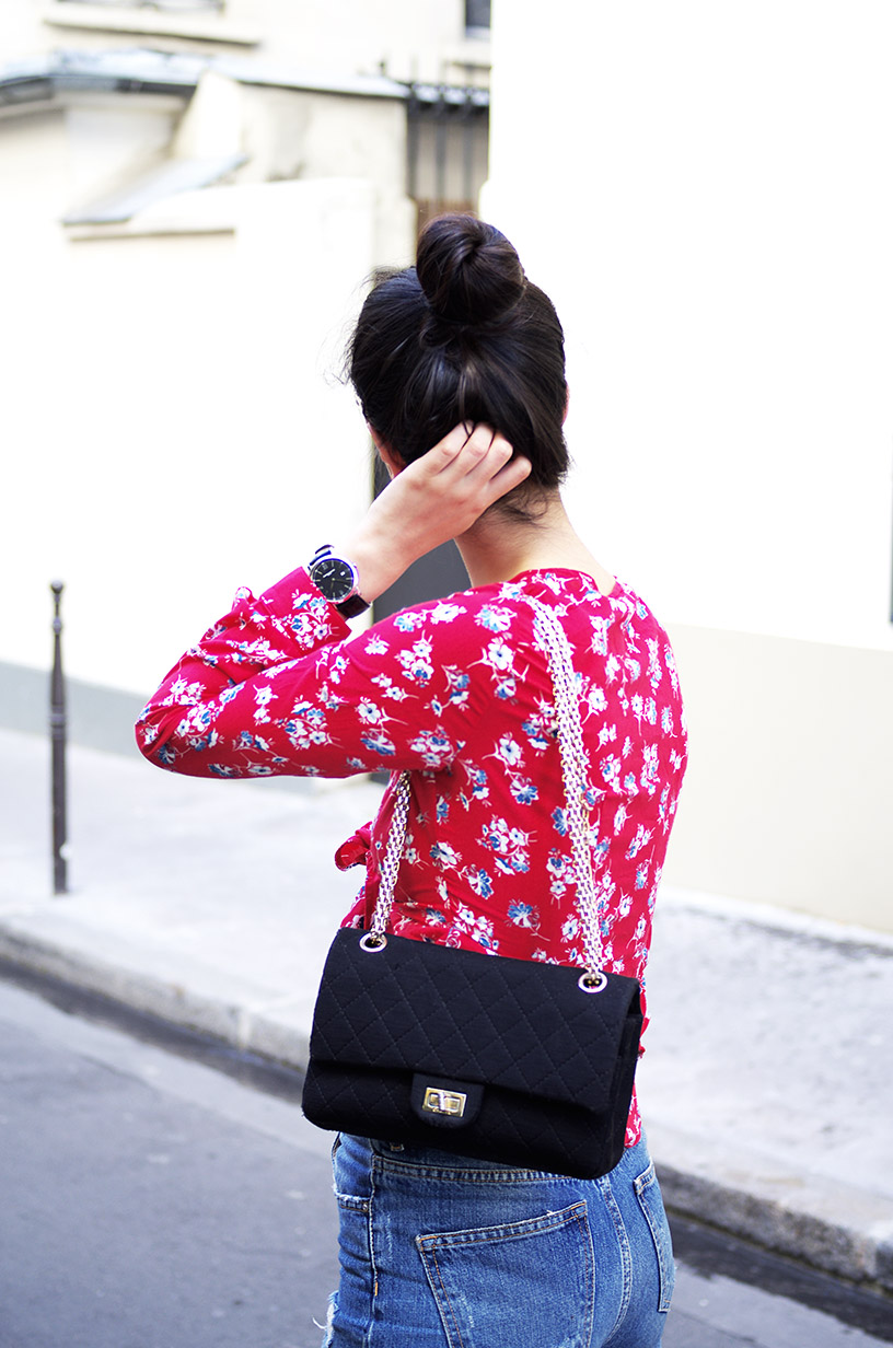 Elizabeth l red knotted flower blouse outfit blog mode l Pimkie Zara Chanel l THEDEETSONE l http://thedeetsone.blogspot.fr