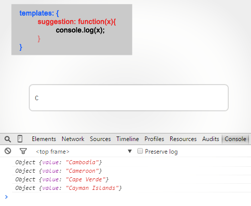 template object with Typeahead JS
