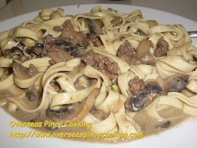 Pinoy Ground Beef Stroganoff over Egg Noodles Recipe