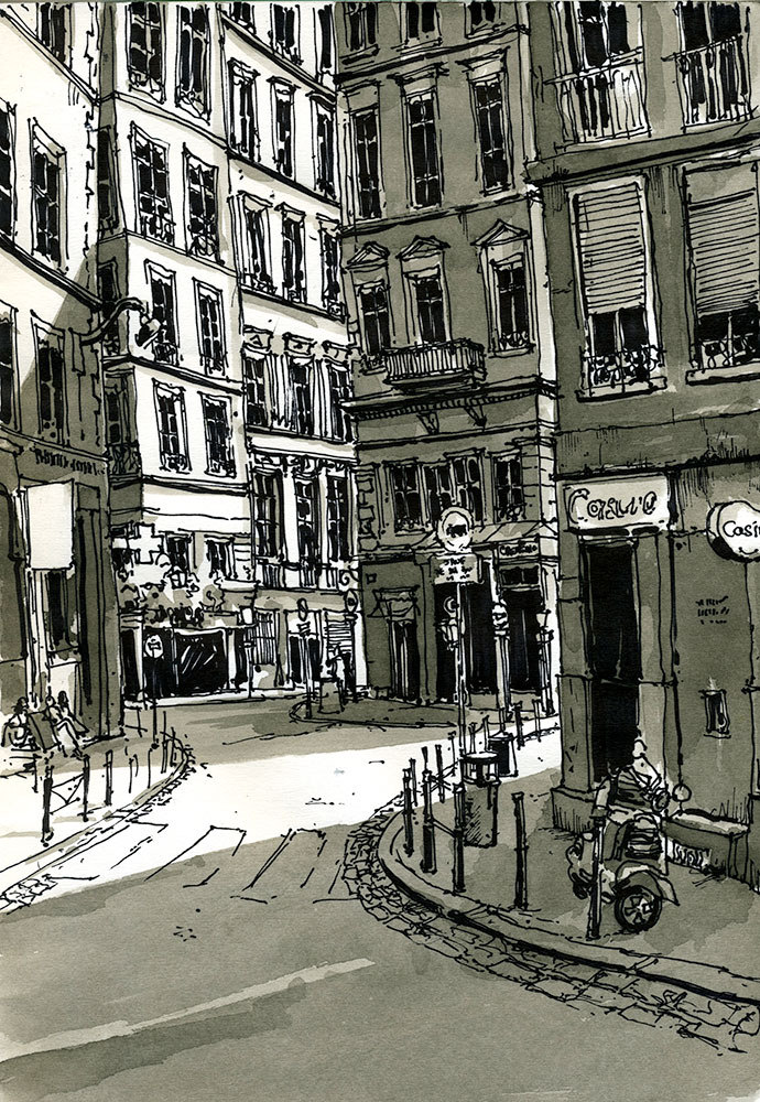 02-Depuis-la-place-Croix-Paquet-Lyon-France-Bruno-Mollière-Architectural-Street-Drawings-and-Sketches-www-designstack-co