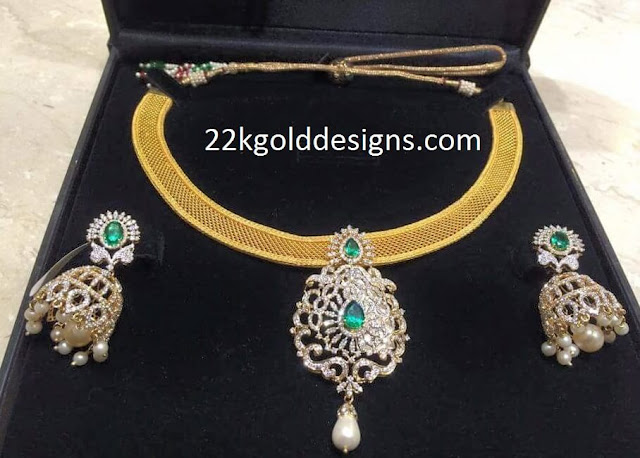 Gold Mesh Necklace with Pendant Set