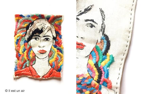 Portraits de femmes brodés