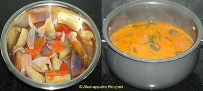 boil the brinjasl etc. and add