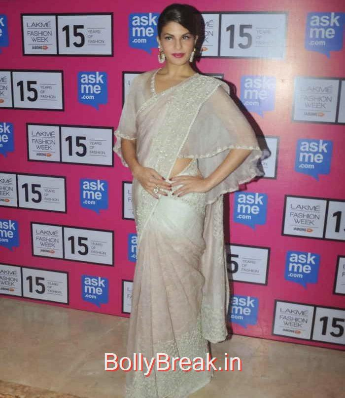 Jacqueline Fernandez Pictures, Jacqueline Fernandez in White Saree at Lakme fashion Week 2015