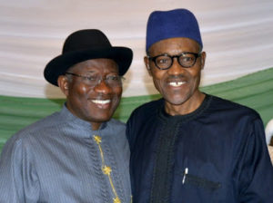Goodluck Jonathan Felicitates with President Buhari at 74