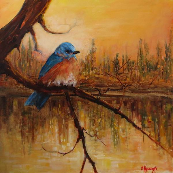 Fine Art By Pat Koscienski Bluebirds Morning Reverie