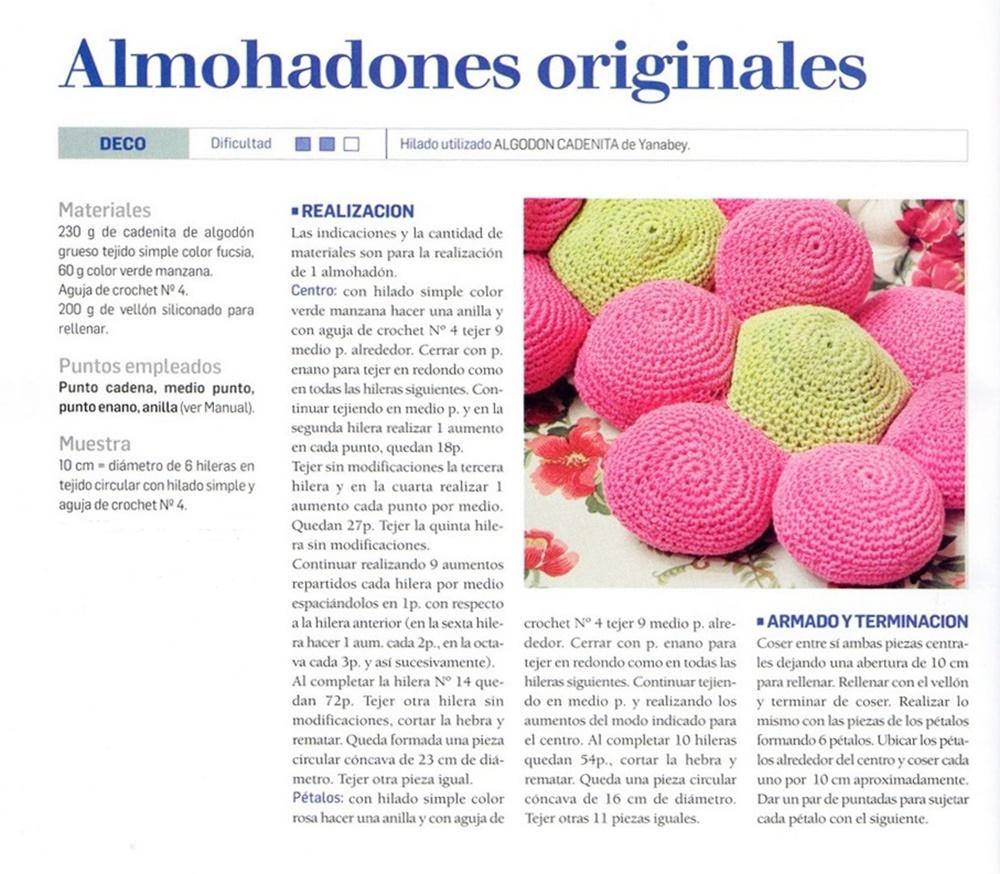 almohadones amigurimi, crochet infantil, cojines flor, patrones crochet