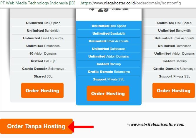Order Domain Tanpa Hosting