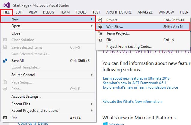 Create Website in Visual Studio
