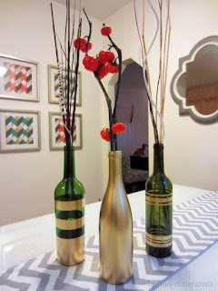 DIY Spray Painted Wine Bottles