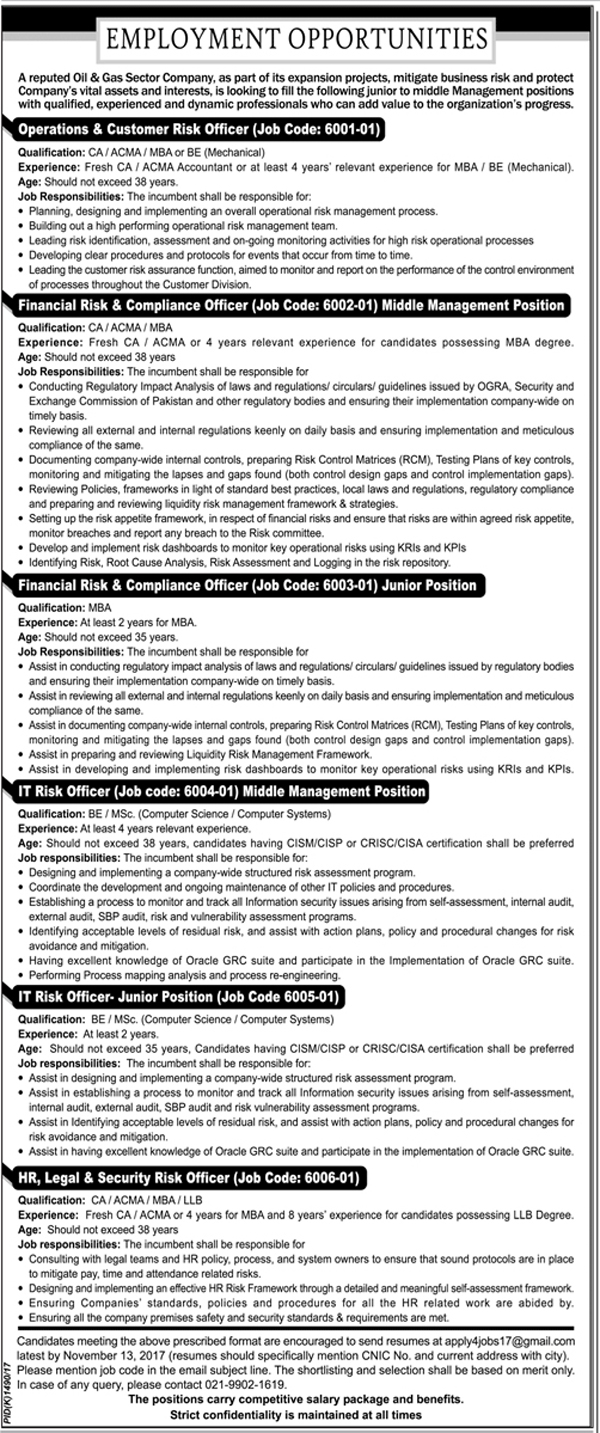 Jobs In Oil And Gas Sector Company Limited Oct 2017