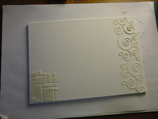A4 canvas board with grunge paste in squares and curls