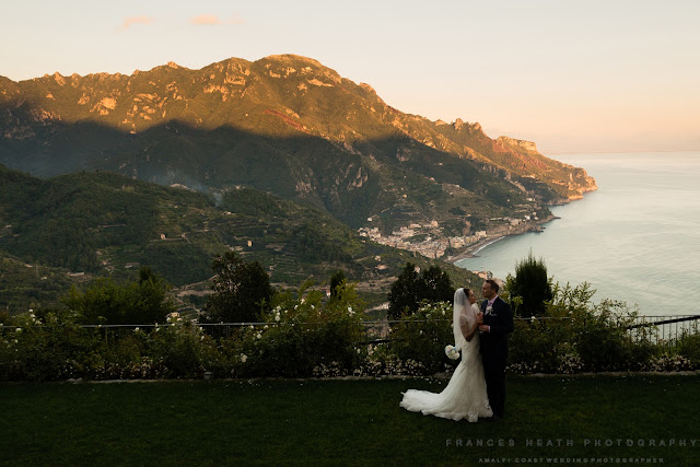 Bride and groom at Caruso Hotel Ravello
