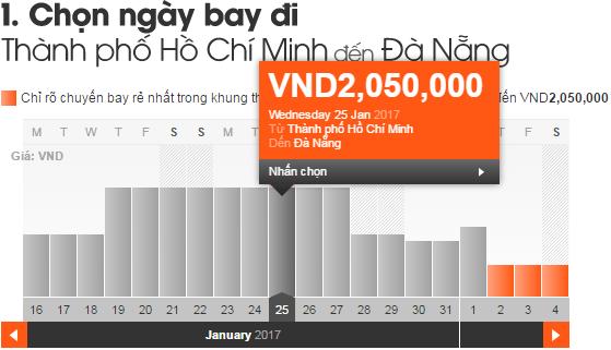 Giá vé máy bay tết 2017 TPHCM đi Đà Nẵng