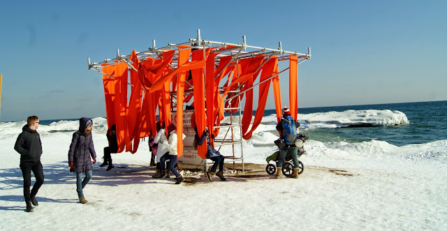 The Winter Stations Design Competition at The Beaches in Toronto, art, installations, kew, balmy, warm, culture, artmatters, snow, lake ontario, exhibit, exhibition, the purple scarf, melanie.ps, canada, lifeguard tower, slin swing, ed butler, daniel wiltshire, frances mcgeown