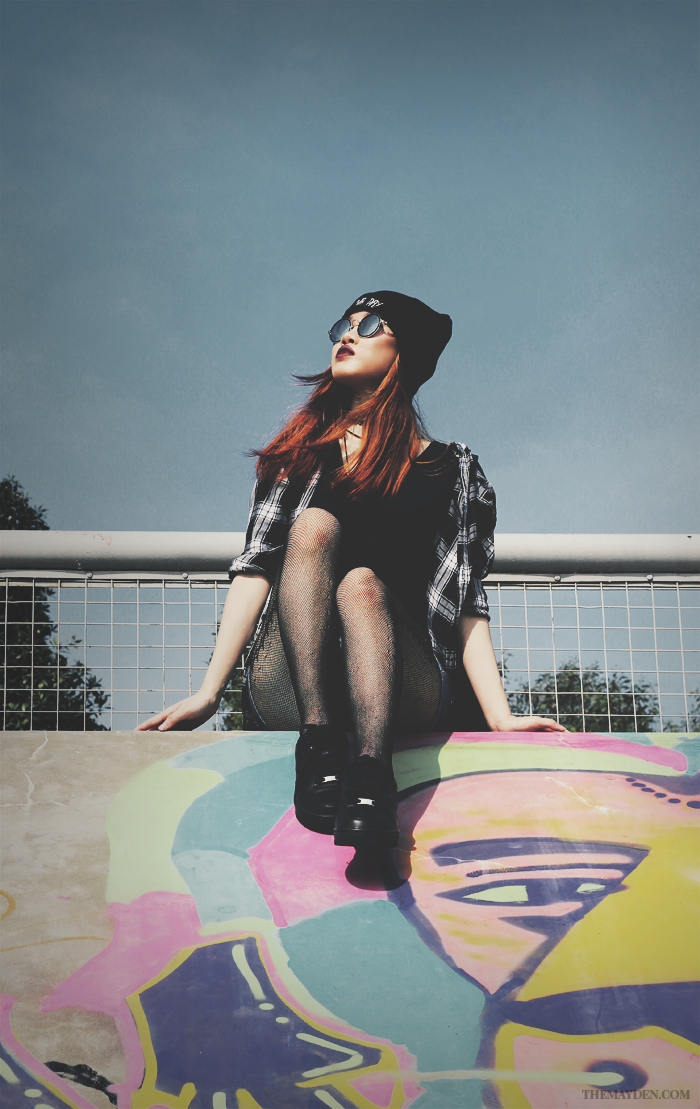 Brunei Style Blogger May Cho collaborates with Revolution   Grunge, sneakers, Nike Air Force 1 07, plaid, rounded sunglasses, beanie, bad hair day, fishnet stockings, ripped denim, shorts, street style, fashion, The Mayden, Brunei Skate Park