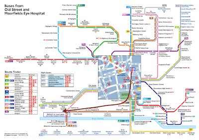 Mapa de autobuses que pasan por Old Street.