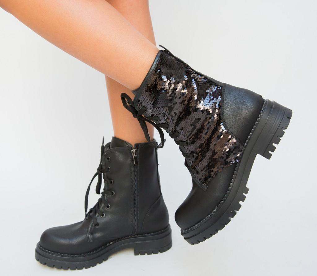 Ghete cu paiete Negre de femei pentru iarna inalte la moda ieftine