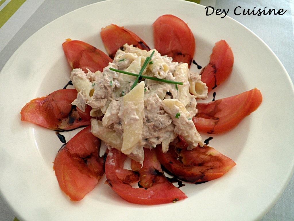 dey cuisine salade de pennes au riz mais thon tomate coeur de boeuf. Black Bedroom Furniture Sets. Home Design Ideas